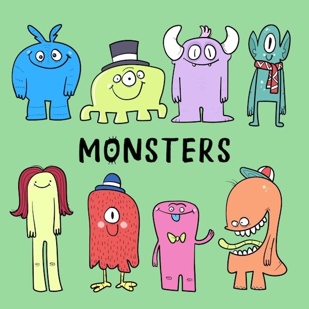 Cartoon monsters-collectie. vector set cartoon monsters geïsoleerd. Premium Vector