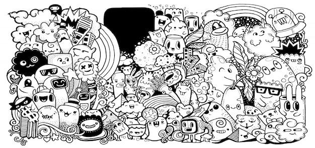 Cartoon monsters-collectie. Premium Vector