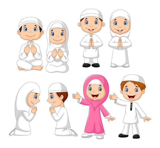 Cartoon moslim jongen collectie set Premium Vector