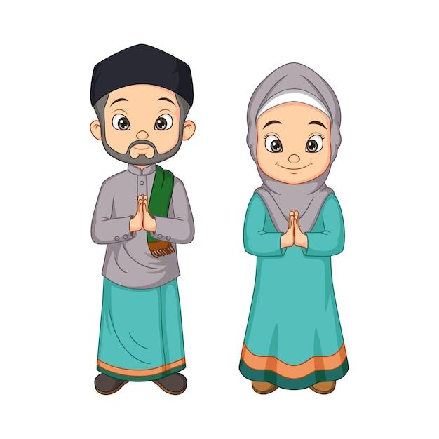 Cartoon moslim man en vrouw groet salaam Premium Vector