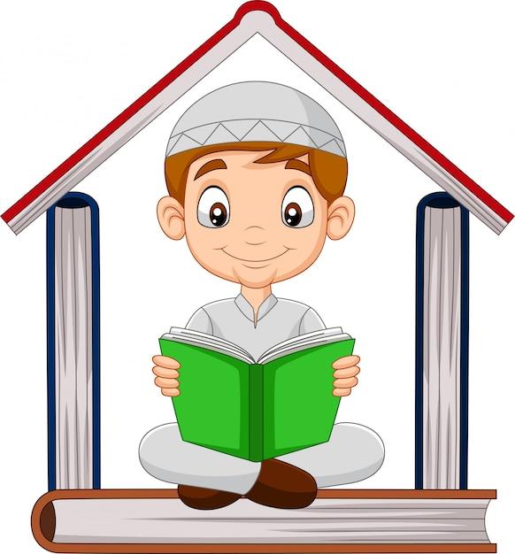 Cartoon moslimjongen die een boek leest Premium Vector