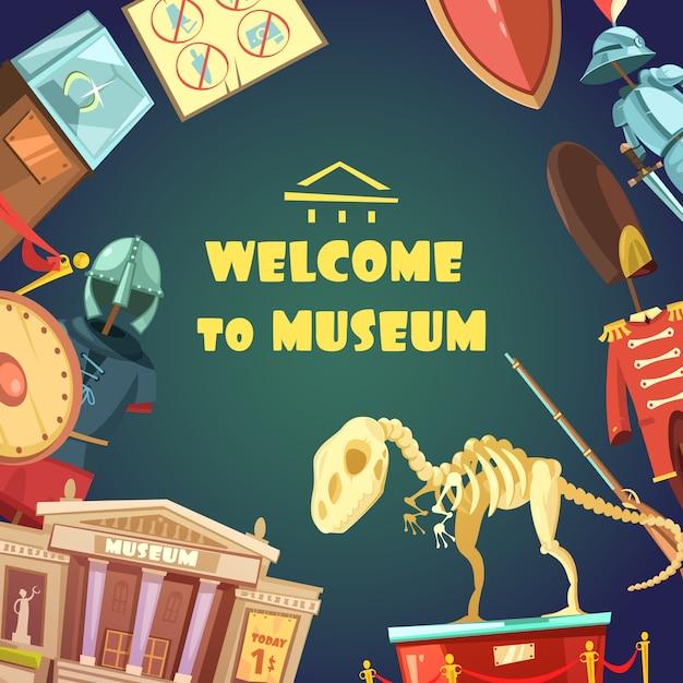 Cartoon museum uitnodiging Gratis Vector