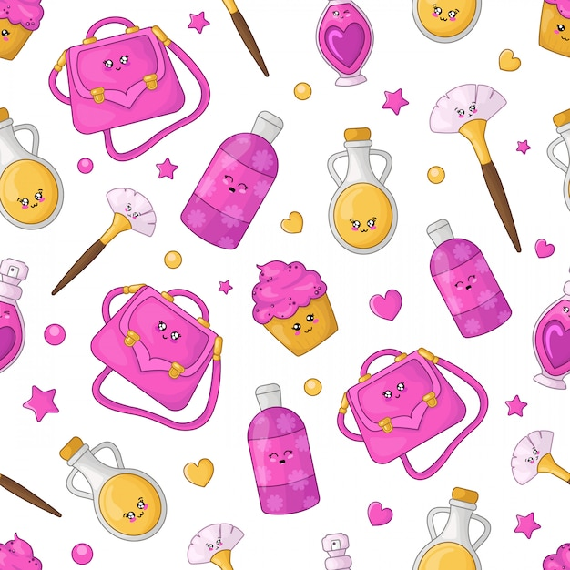 Cartoon naadloze patroon - kawaii cosmetica en meisjes mode-accessoire Premium Vector