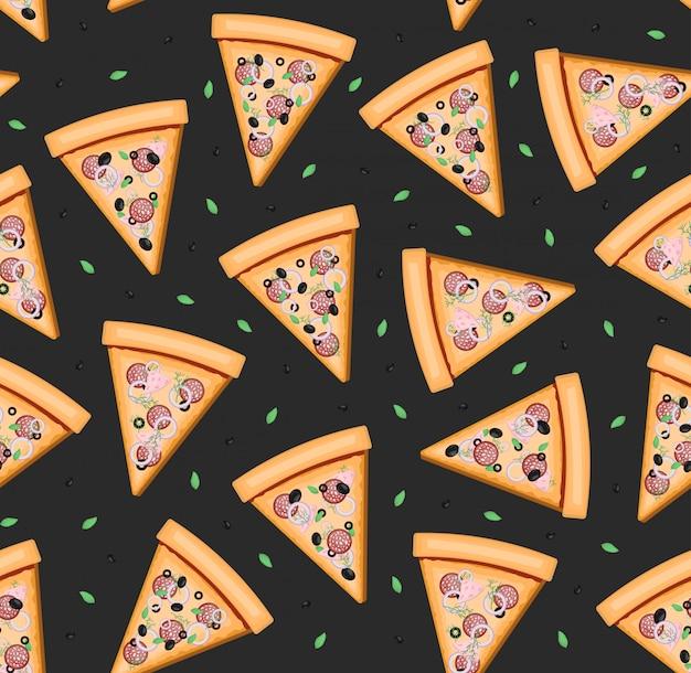 Cartoon naadloze patroon met pizza voor inpakpapier, bekleding, decor het restaurantmenu en branding op donkere achtergrond. Premium Vector
