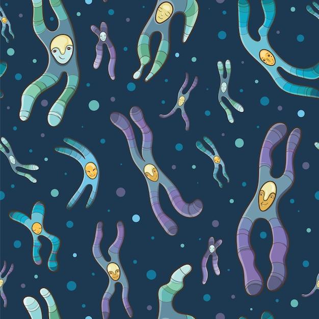 Cartoon naadloze patroon van chromosomen. Premium Vector