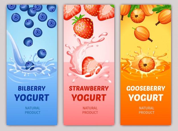 Cartoon natuurlijke melkachtige producten verticale banners Gratis Vector