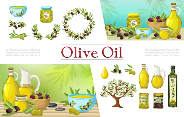 Cartoon natuurlijke olijfelementen collectie met olijfolie flessen krans takken boom drop potten potten en blikjes Gratis Vector