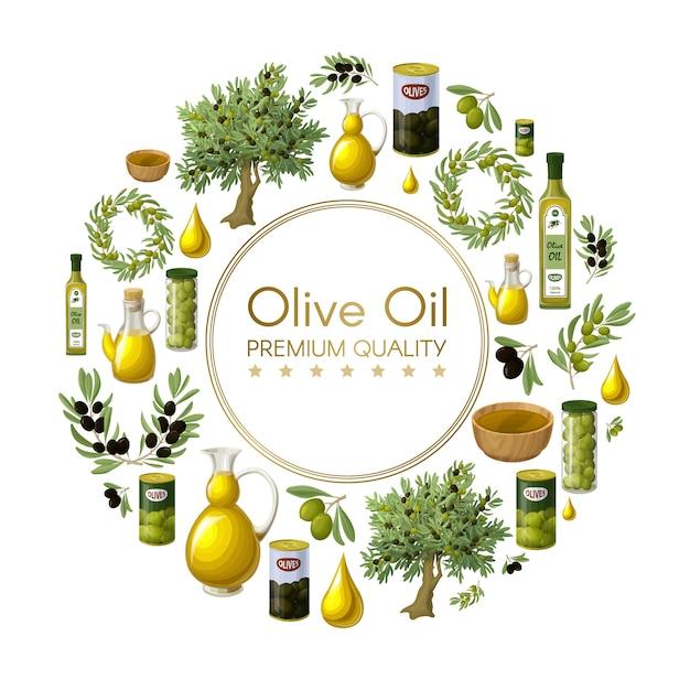 Cartoon natuurlijke olijfolie ronde samenstelling met olijfbomen omhult takken potten blikjes flessen kommen druppels geïsoleerd Gratis Vector