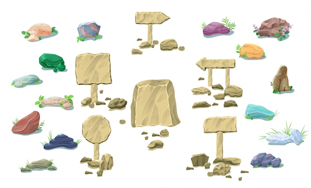 Cartoon natuurstenen collectie Gratis Vector