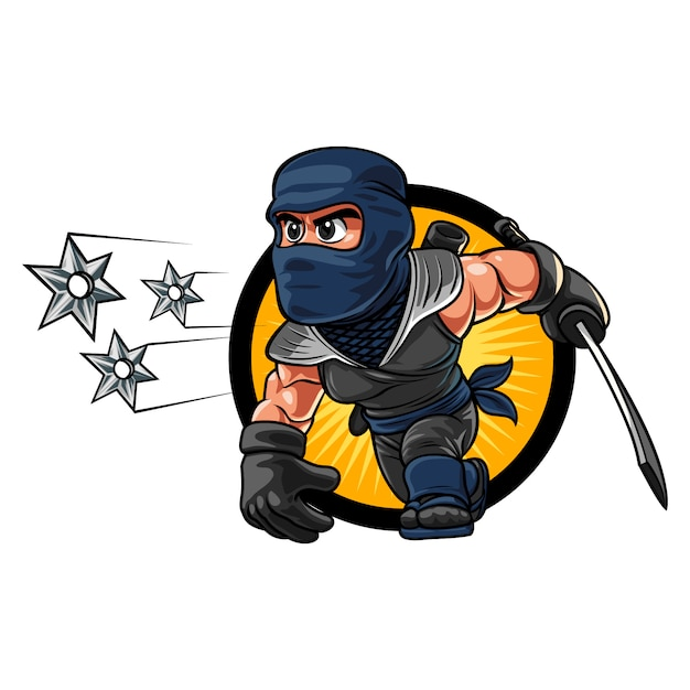 Cartoon ninja shuriken Premium Vector
