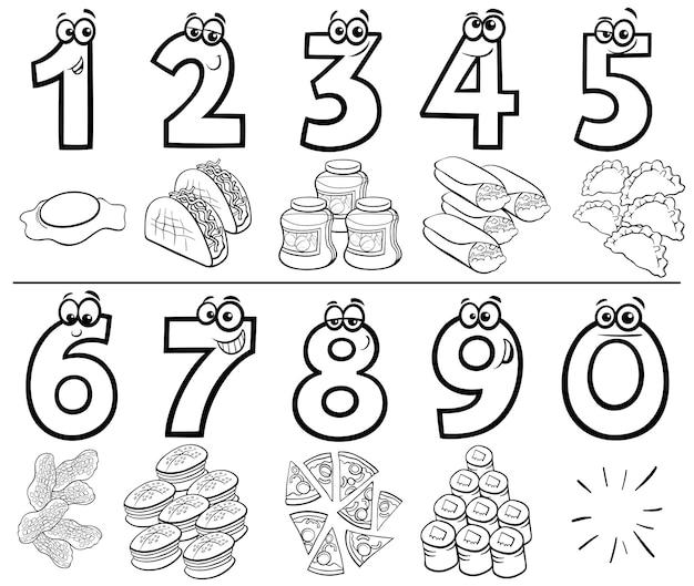 Cartoon nummers instellen met voedsel objecten kleur boek Premium Vector