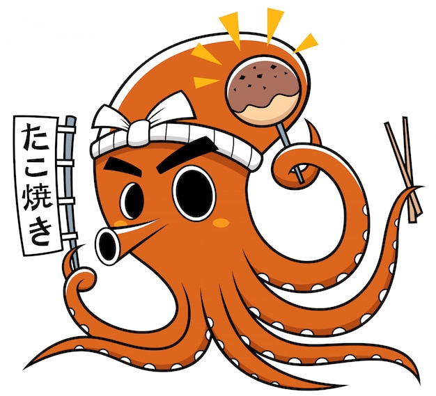 Cartoon octopus chef-kok takoyaki. betekenissen in japan: takoyaki Premium Vector