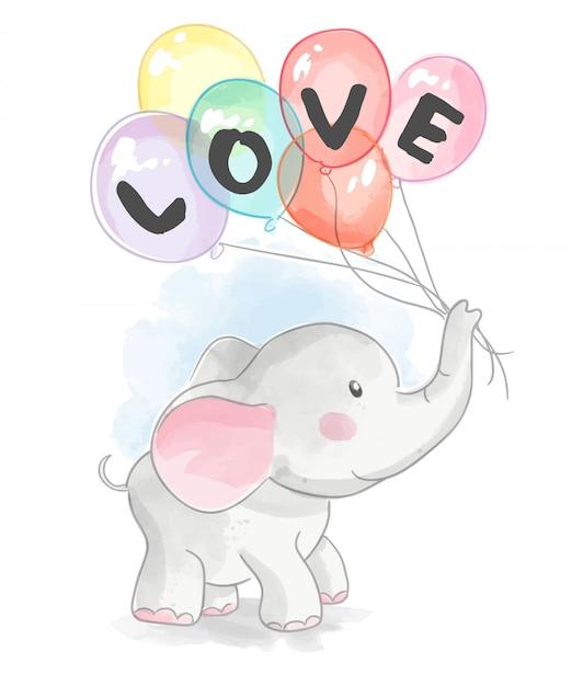 Cartoon olifant houdt van liefde ballonnen Premium Vector