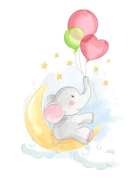 Cartoon olifant met ballon op de maan Premium Vector