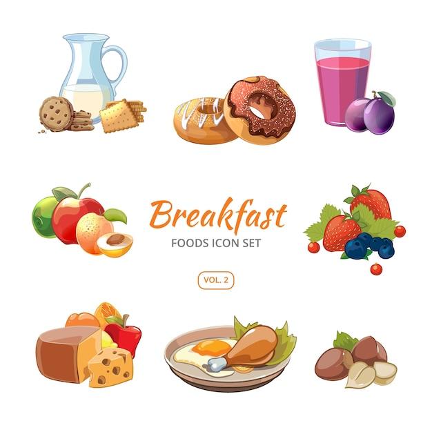 Cartoon ontbijt eten pictogrammen instellen. koekjes en donuts, noten en bessen, vectorillustratie Gratis Vector