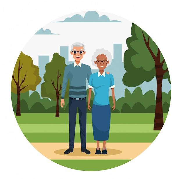 Cartoon oud echtpaar in het park Premium Vector