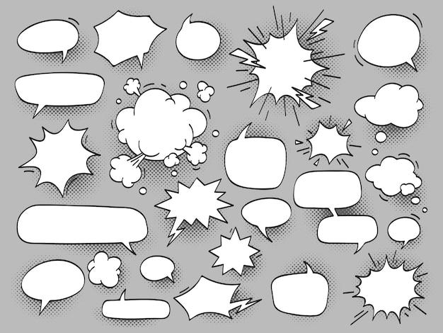 Cartoon ovaal bespreken tekstballonnen en bang bam wolken met hal Premium Vector