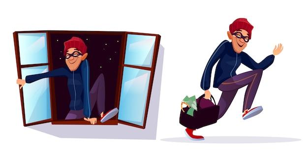 Cartoon overvaller, dief tekens instellen. mannelijke inbreker die met gestolen geld, juwelenzak loopt Gratis Vector