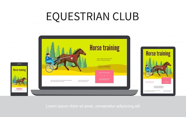 Cartoon paardensport adaptieve ontwerp websjabloon met jockey rijpaard in strijdwagen op laptop mobiele tablet schermen geïsoleerd Gratis Vector