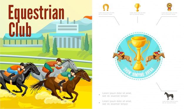 Cartoon paardensport samenstelling met jockeys paardrijden paarden trofee cup hoefijzer medaille Gratis Vector