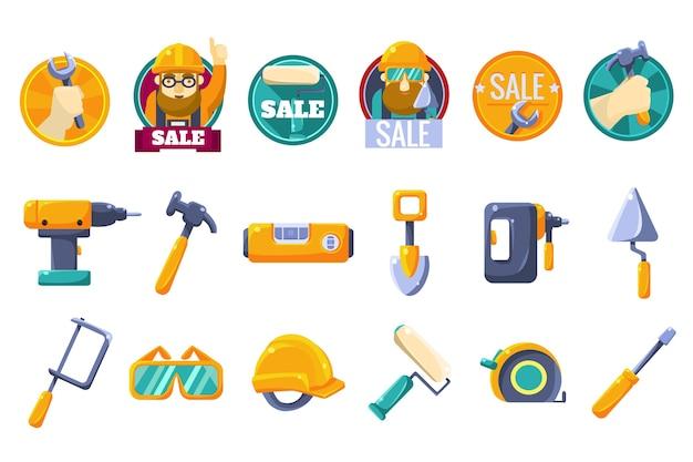 Cartoon pictogrammen instellen met tools voor ijzerhandel Premium Vector
