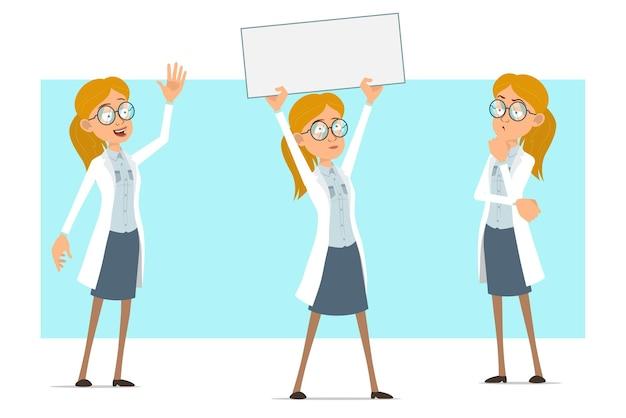 Cartoon plat grappige blonde dokter vrouw karakter in wit uniform en glazen. meisje denken en houden blanco papier teken voor tekst. Premium Vector