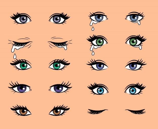 Cartoon popart vrouwelijke ogen Premium Vector