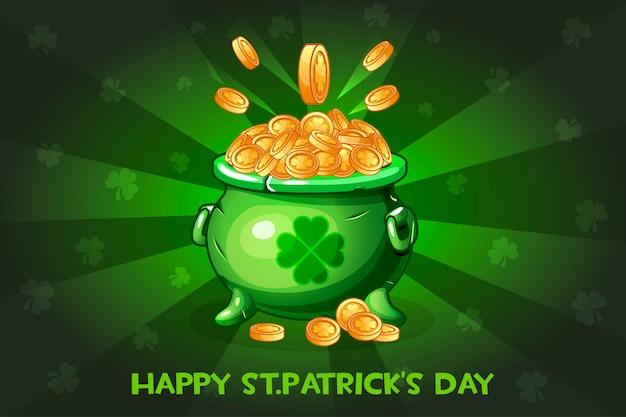 Cartoon pot met munt. illustratie happy st.patrick's day Premium Vector