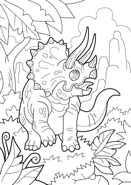 Cartoon prehistorische dinosaurus triceratops, kleurboek, grappige illustratie Premium Vector
