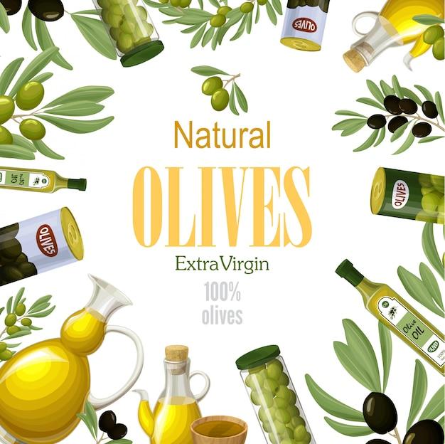 Cartoon premium natuurlijke olijven sjabloon met zwarte en groene olijftakken blikjes kommen potten potten en flessen gezonde olie Gratis Vector