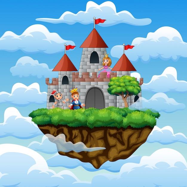 Cartoon prins en prinses vooraan een kasteel op de wolk Premium Vector