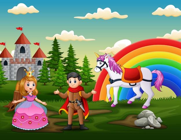 Cartoon prinses en prins voor het kasteel Premium Vector