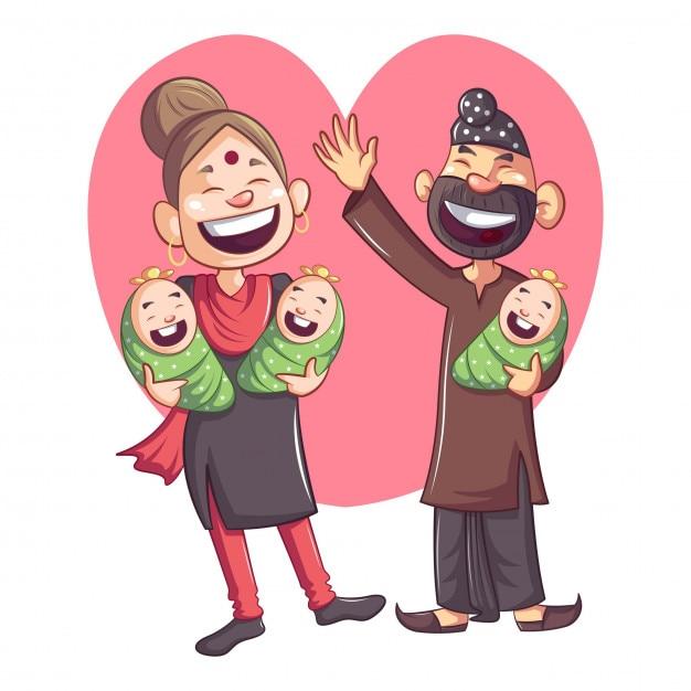 Cartoon punjabi sardar met familie Premium Vector