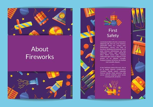 Cartoon pyrotechniek kaart, flyer-sjabloon voor zakelijke illustratie Premium Vector