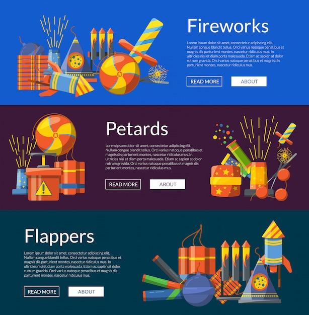 Cartoon pyrotechniek kleur horizontale webbanners van illustratie instellen Premium Vector
