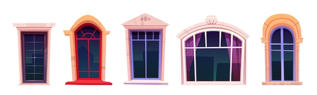 Cartoon ramen set, vintage glazen met stenen kozijnen, vensterbank en gordijnen binnen Gratis Vector