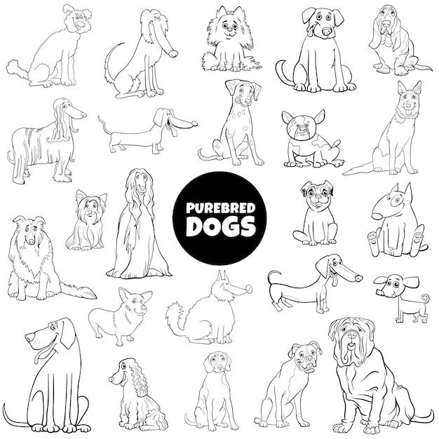 Cartoon rasechte honden grote set kleur boekpagina Premium Vector