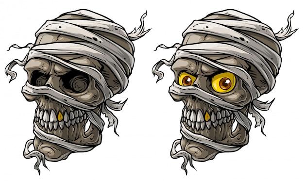 Cartoon realistische enge mummie schedels vector set Premium Vector