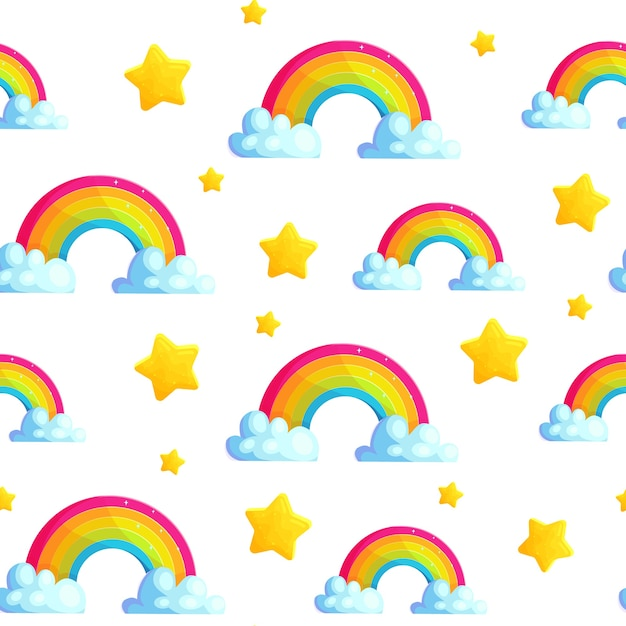 Cartoon regenboog naadloze patroon met ster en wolk. Premium Vector