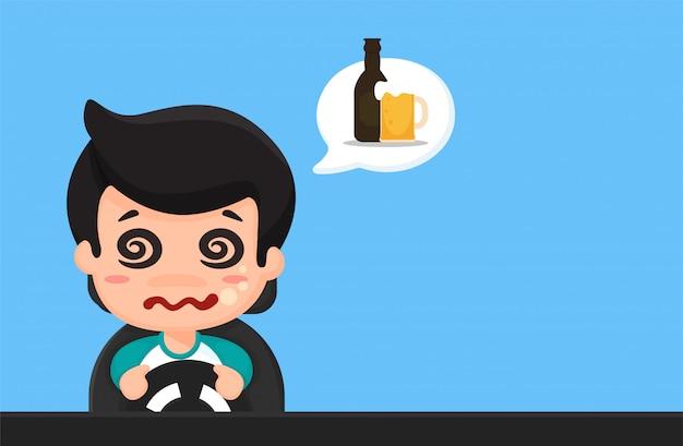 Cartoon reizen van dronken mensen, slaperig, gebruik de telefoon tijdens het rijden Premium Vector