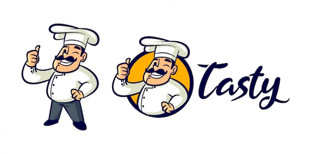 Cartoon retro vintage chef karakter mascotte logo Premium Vector
