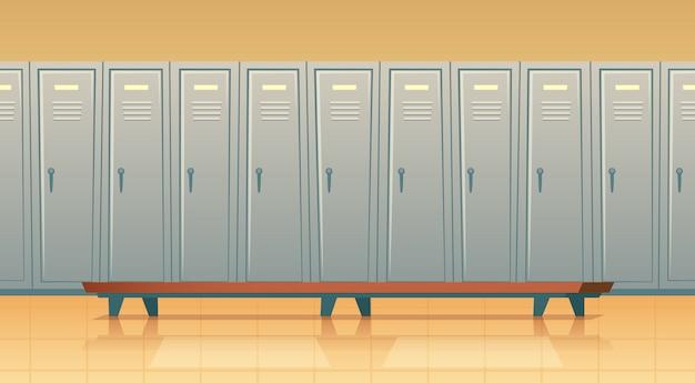 Cartoon rij met individuele kluisjes of kleedkamer voor voetbal, basketbalteam of werknemers. Gratis Vector