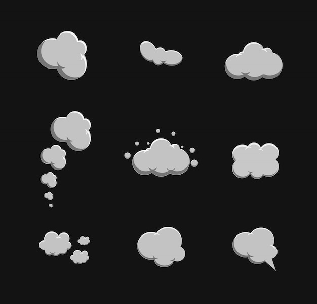 Cartoon rook ingestelde vector. rook bubbel Premium Vector