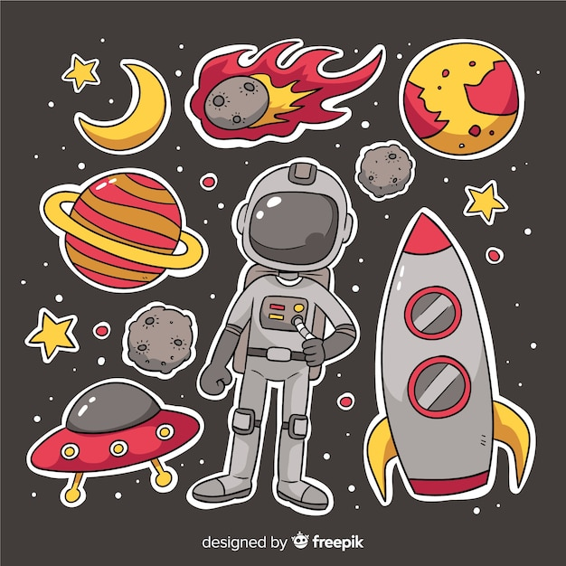 Cartoon ruimte sticker collectie set Gratis Vector