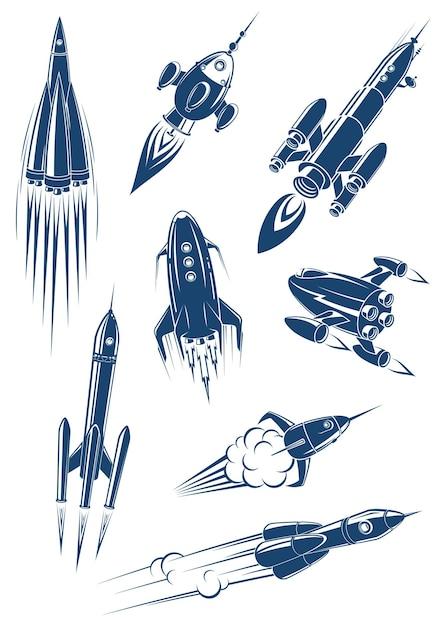 Cartoon ruimteschepen en raketten in de ruimte geïsoleerd op een witte achtergrond Premium Vector