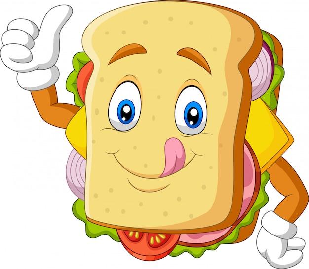 Cartoon sandwich geven duimen omhoog Premium Vector