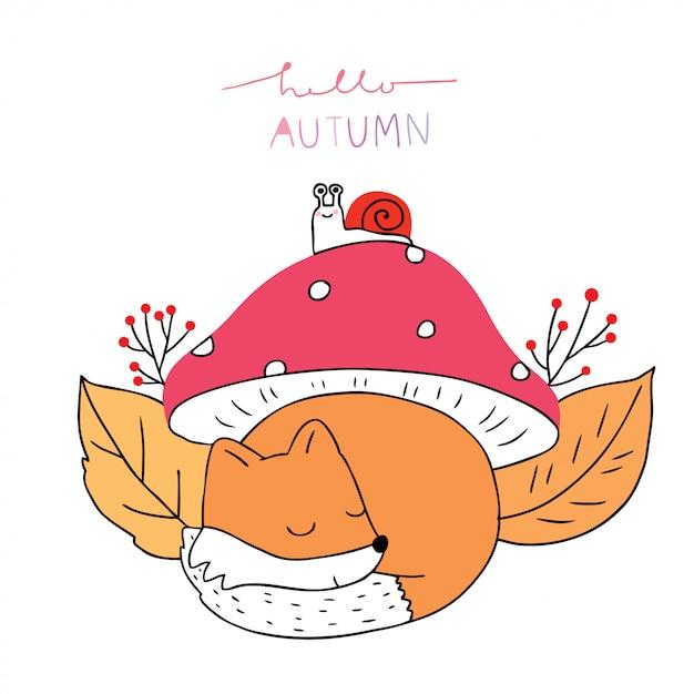 Cartoon schattig herfst, vossen en slak onder paddestoel vector. Premium Vector