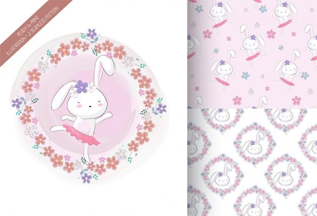 Cartoon schattig konijntje meisje met bloem Premium Vector