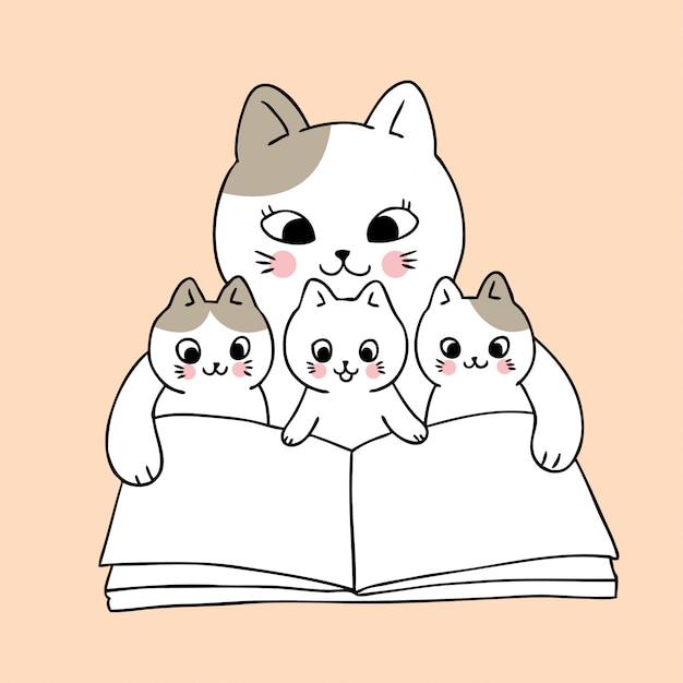 Cartoon schattig moeder en baby kat leesboek vector. Premium Vector