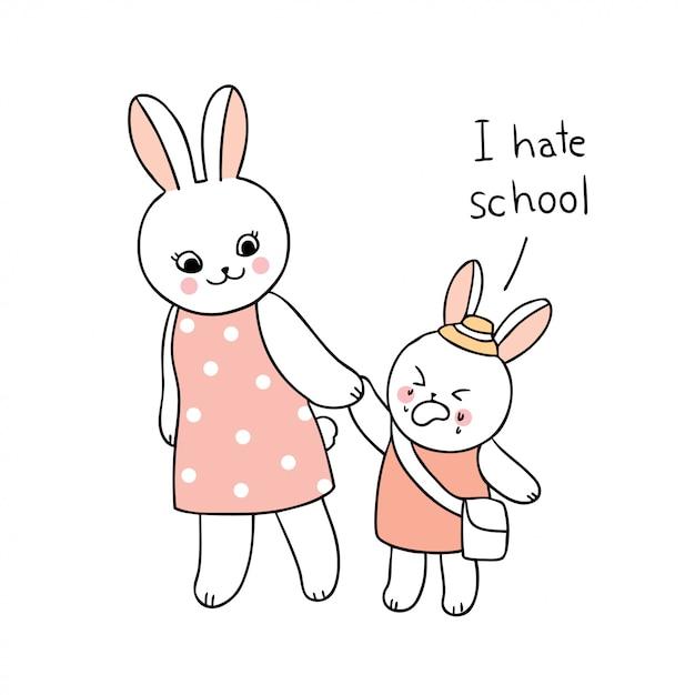Cartoon schattig terug naar school moeder en baby konijn lopen naar school. Premium Vector